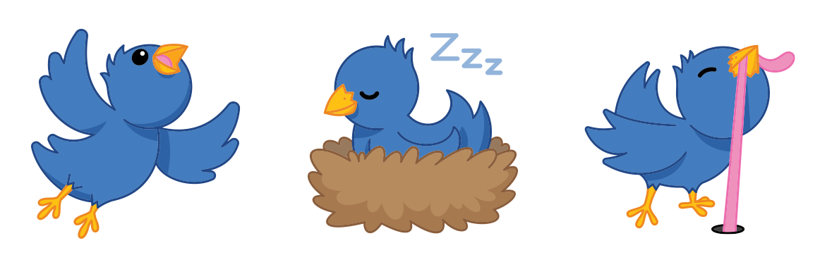 Twitterrific's mascot Ollie in sticker form - flying, sleeping and pulling up a worm