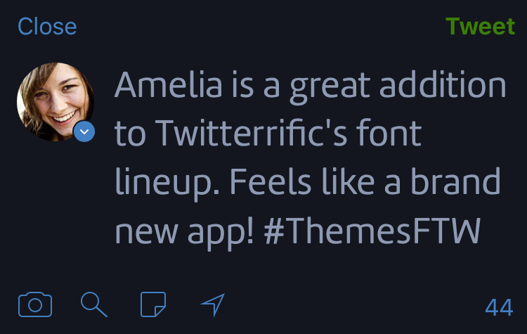 Twitterrific's compose screen showing a tweet displayed in Amelia