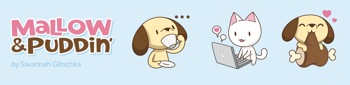 Mallow & Puddin' characters drinking tea, chatting on a laptop and chowing down on dinner