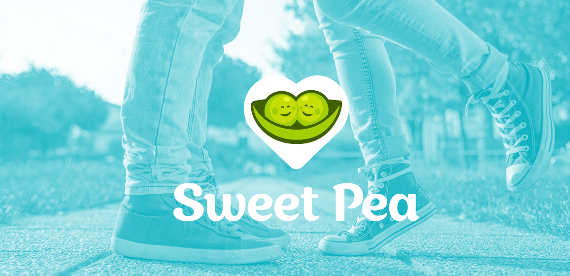 Photo of two people's feet in the park, one leaning up on tip-toes to kiss the other with the Sweet Pea logo at center