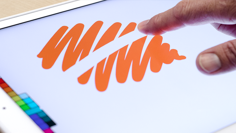 a finger swiping to erase a drawing in Linea