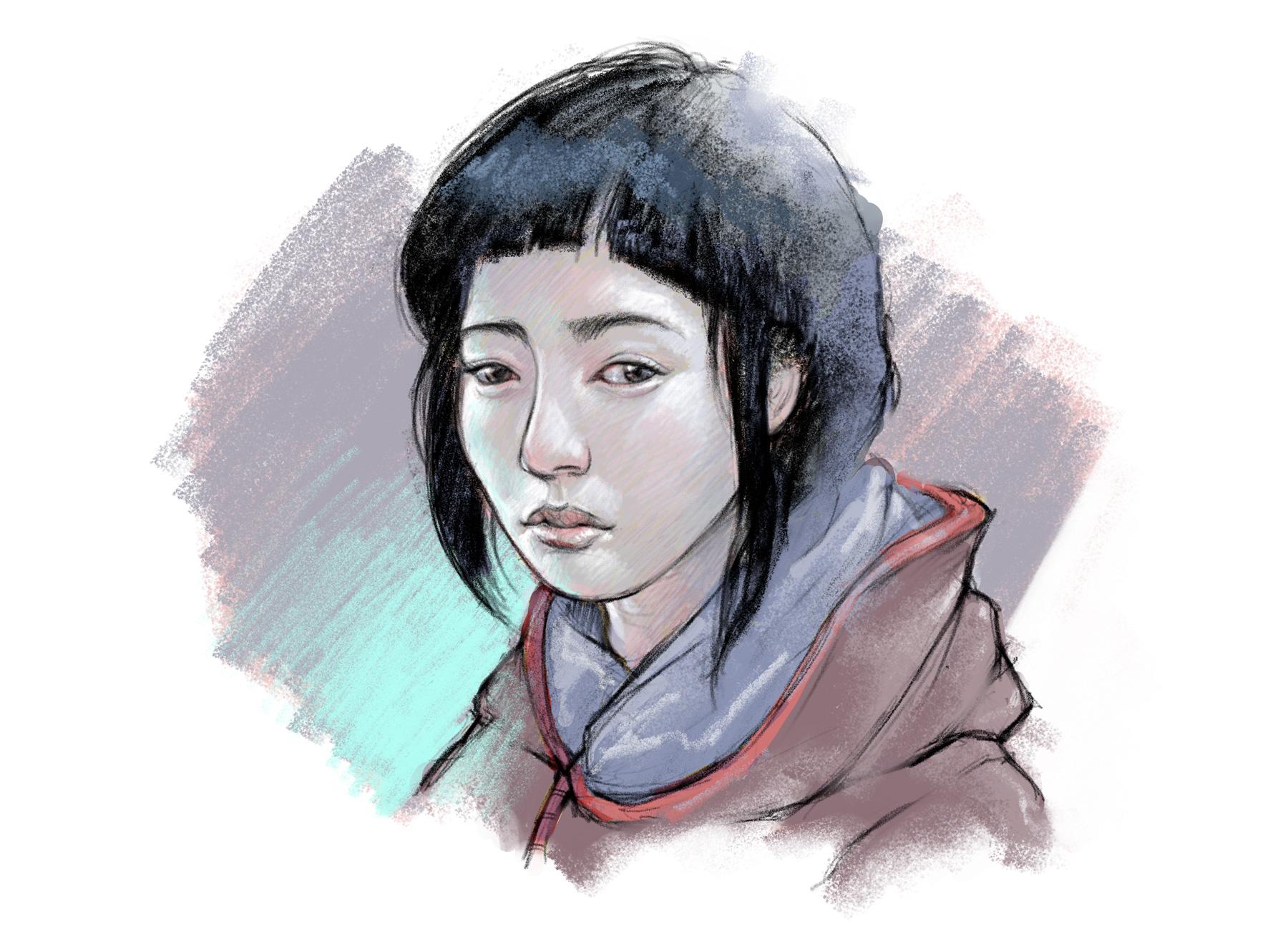 Linea portrait of Motoko by David A. Brasgalla