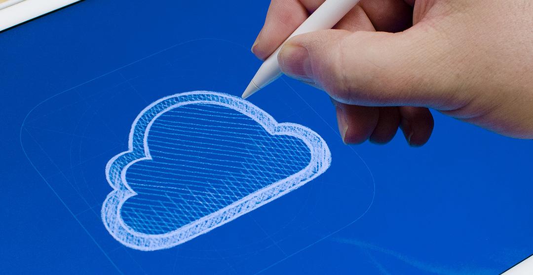 Artist sketching the iCloud logo in Linea