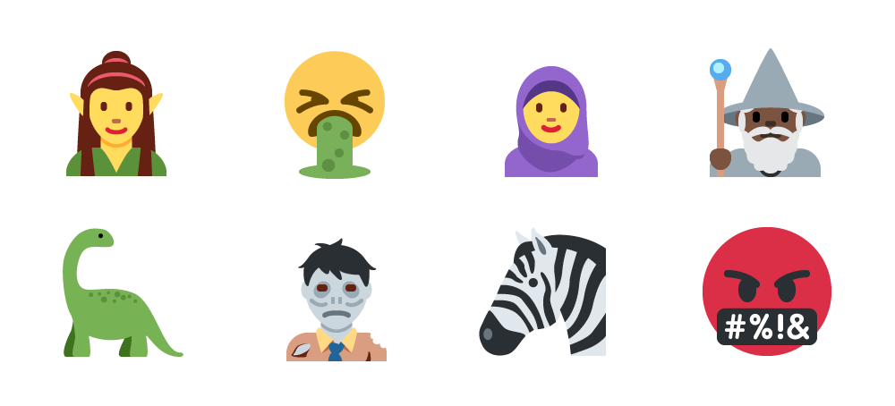 Twitter Twemoji Unicode 10 examples - Zombie, Elf, Zebra and more