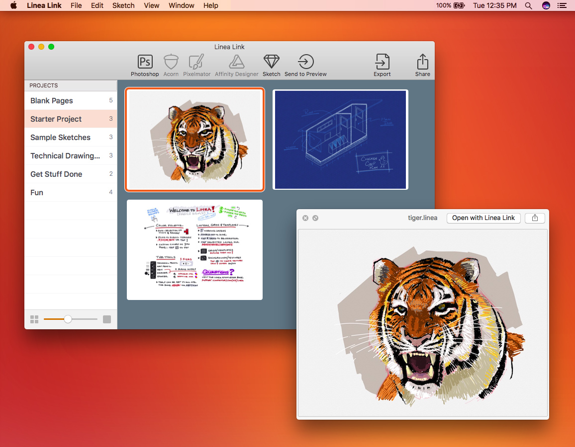Linea Link's User Interface on the Mac
