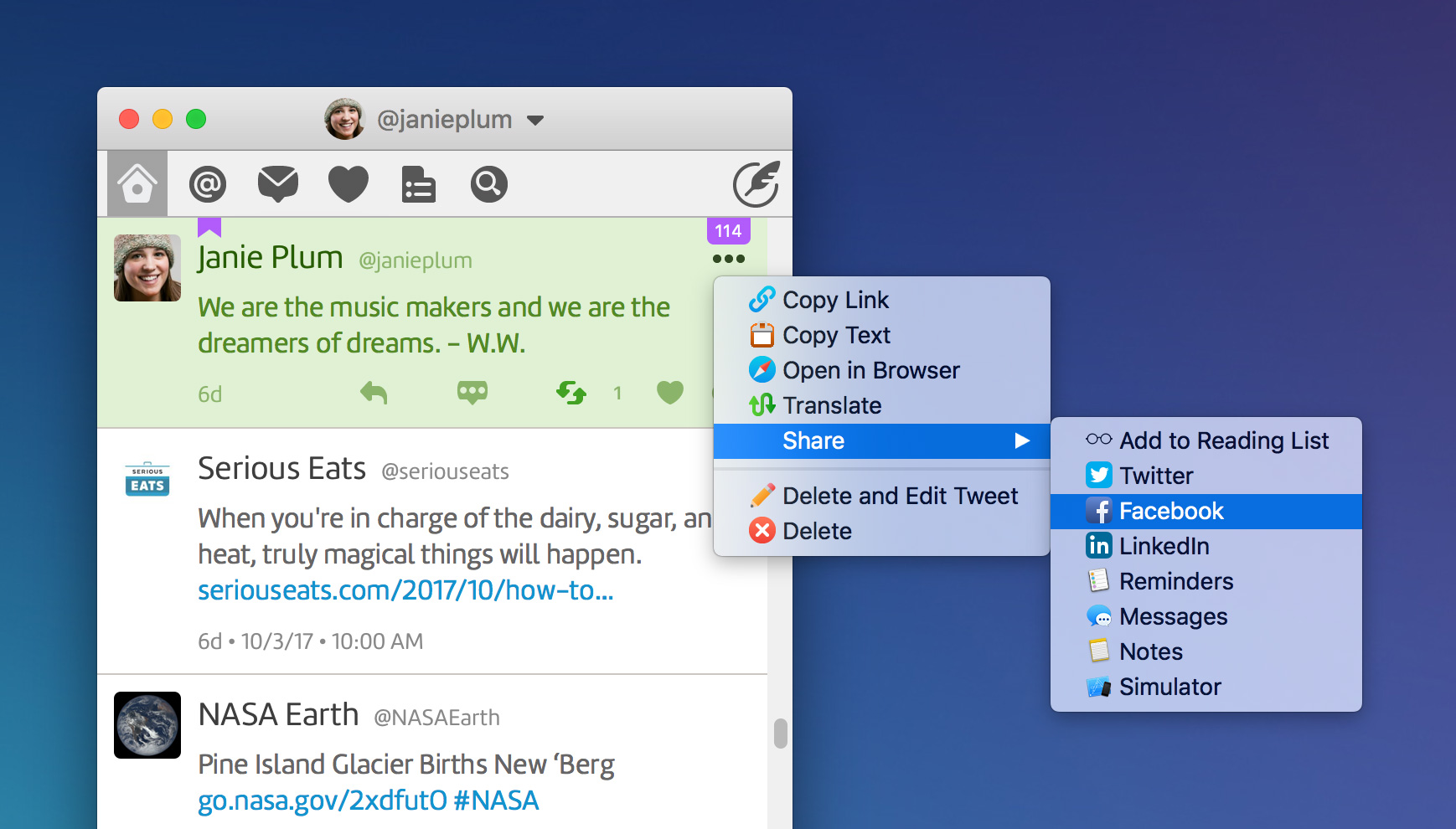 Twitterrific's sharing panel showing Facebook highlighted