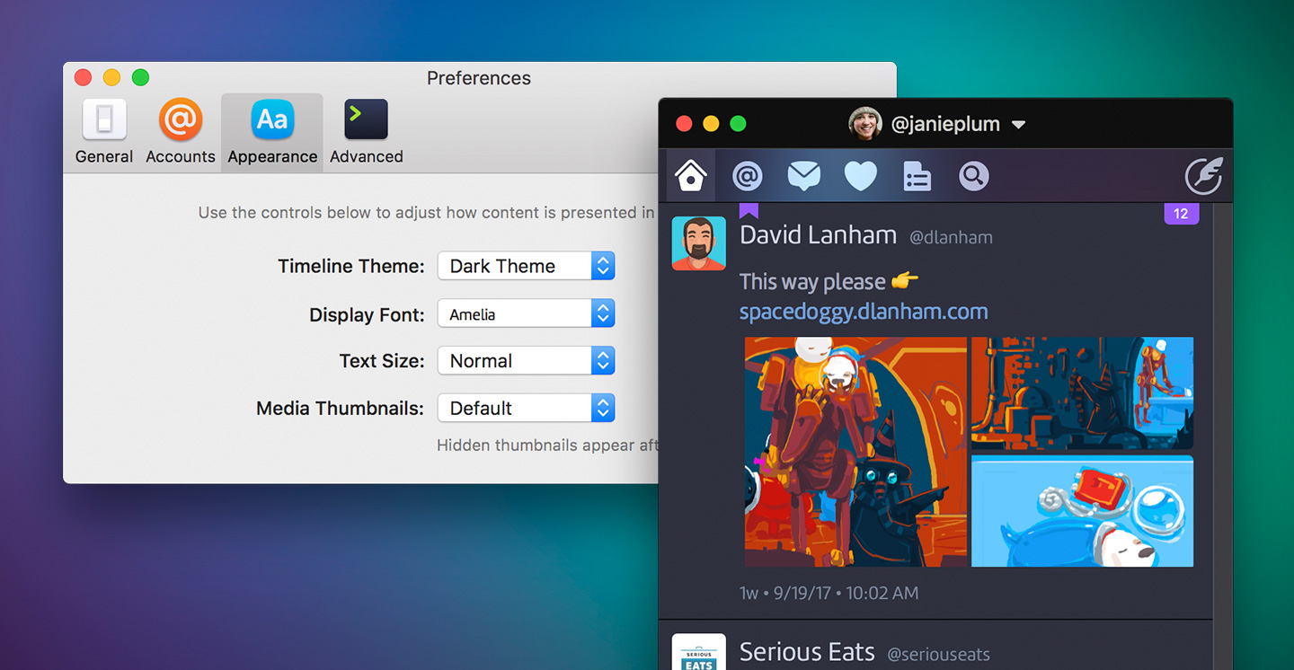 Twitterrific timeline windows displayed in the dark theme via the Appearance tab in preferences