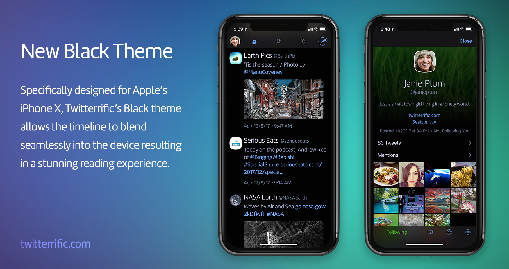 New Black theme designed for iPhone X in Twitterrific 5.18