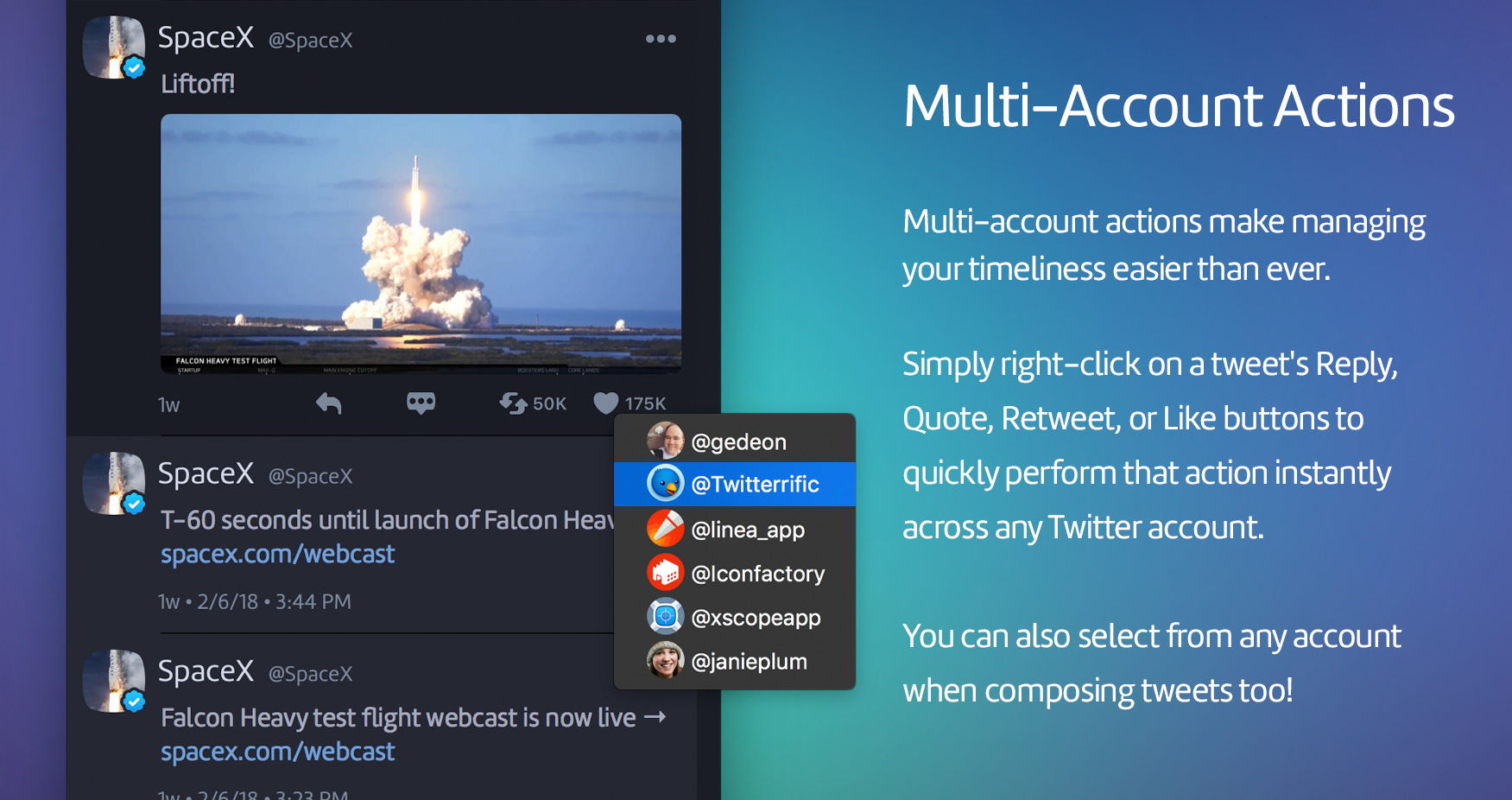 Multi-user actions in Twitterrific 5.2.4 for macOS