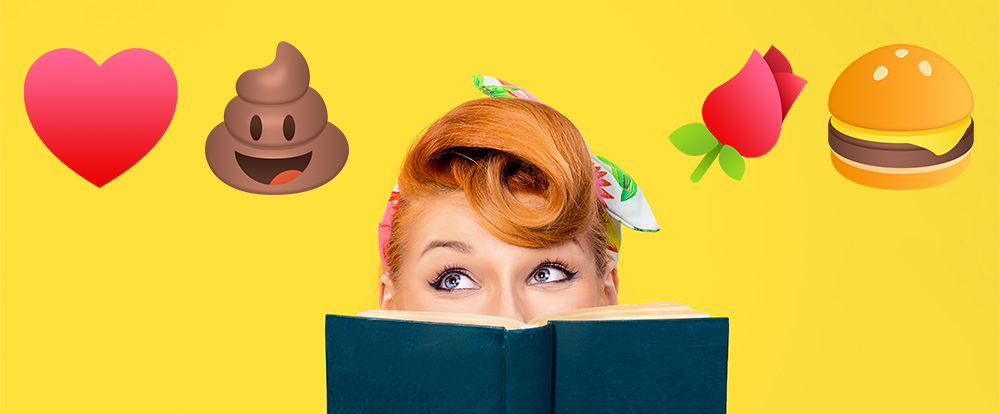 A 1950's PSA style woman gazes up from behind a book to floating emoji above her head including the smiling poo