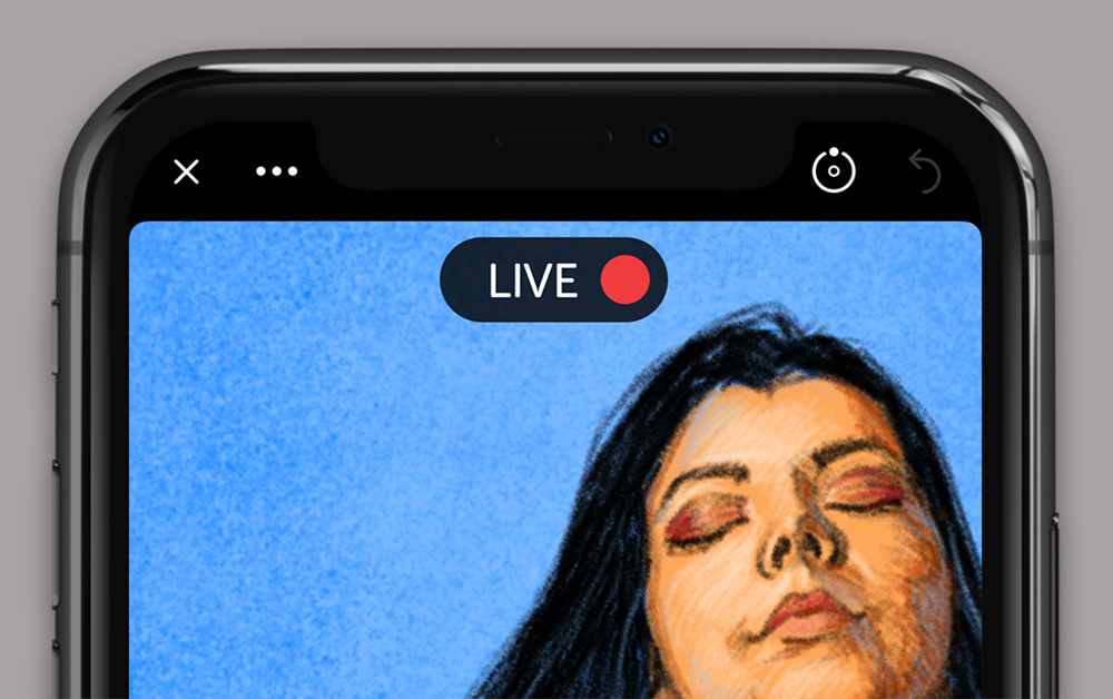 Linea Go drawing with LIVE STREAMING indicator