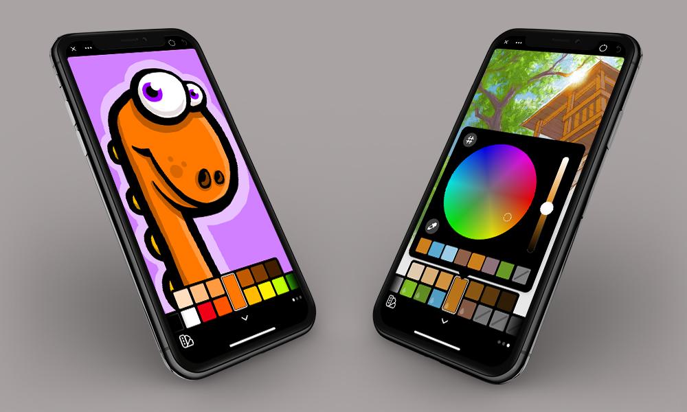 Facing iPhones showing Linea Go's color palette interface