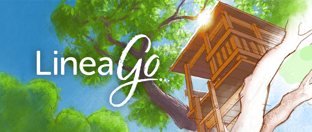 Linea Go Logo and Hero Illustration - Treehouse and sunshine