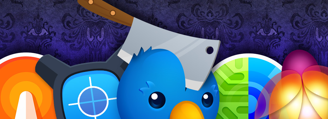 App icons of all our Mac apps lined up on the chopping block with a cleaver through the skull of Twitterrific's Ollie. Sad birdie!