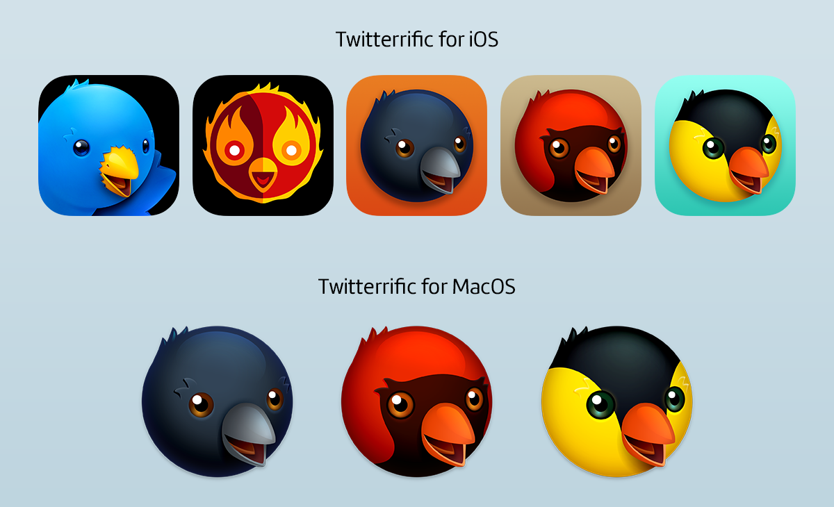 The various custom Twitterrific icons that are available in today's macOS and iOS update