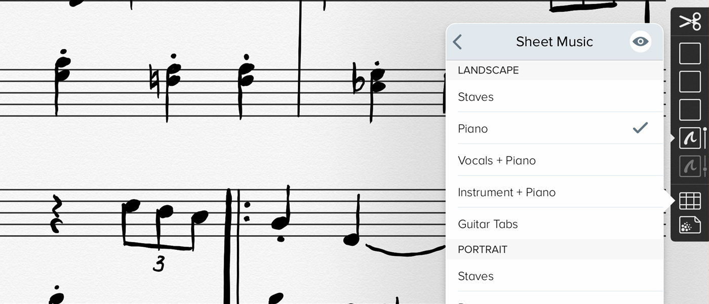 Linea showing a sheet music template with notes sketched in the staves