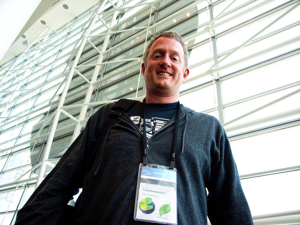 The Iconfactory's Craig Hockenberry towers at Apple's WWDC conference in 2009