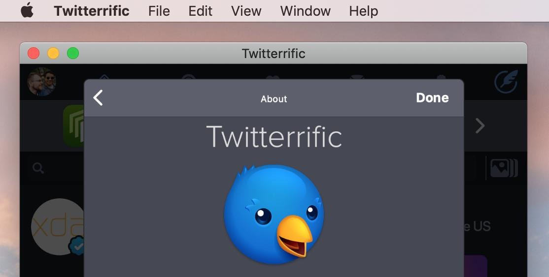 Screenshot of the iOS version of Twitterrific running on a Mac