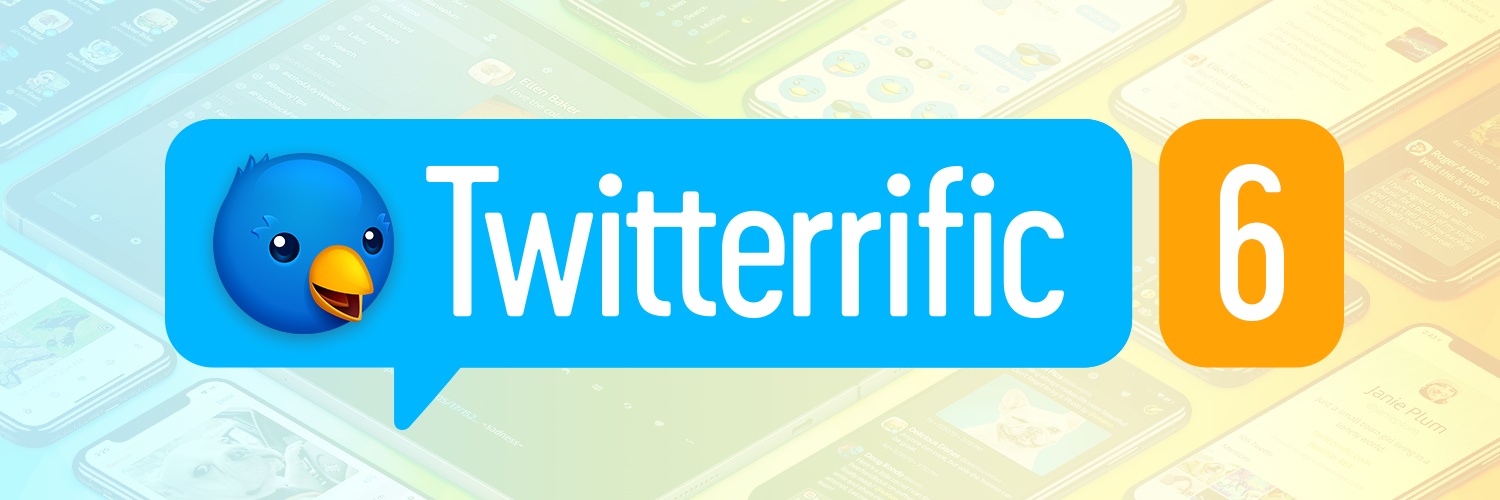 Twitterrific 6 logo over a field of iPhones and iPads running the new app