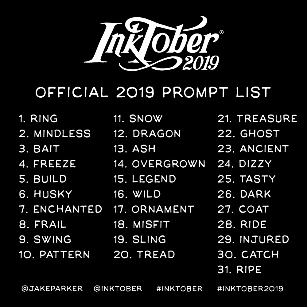 The official Inktober prompt list for 2019