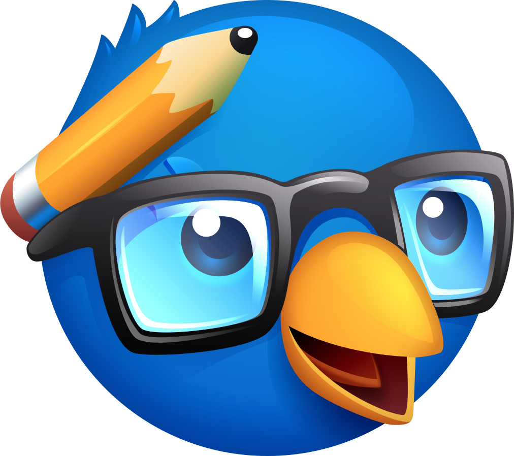 Ollie pulls out his glasses and pocket protector in the Nerdy Bird app icon