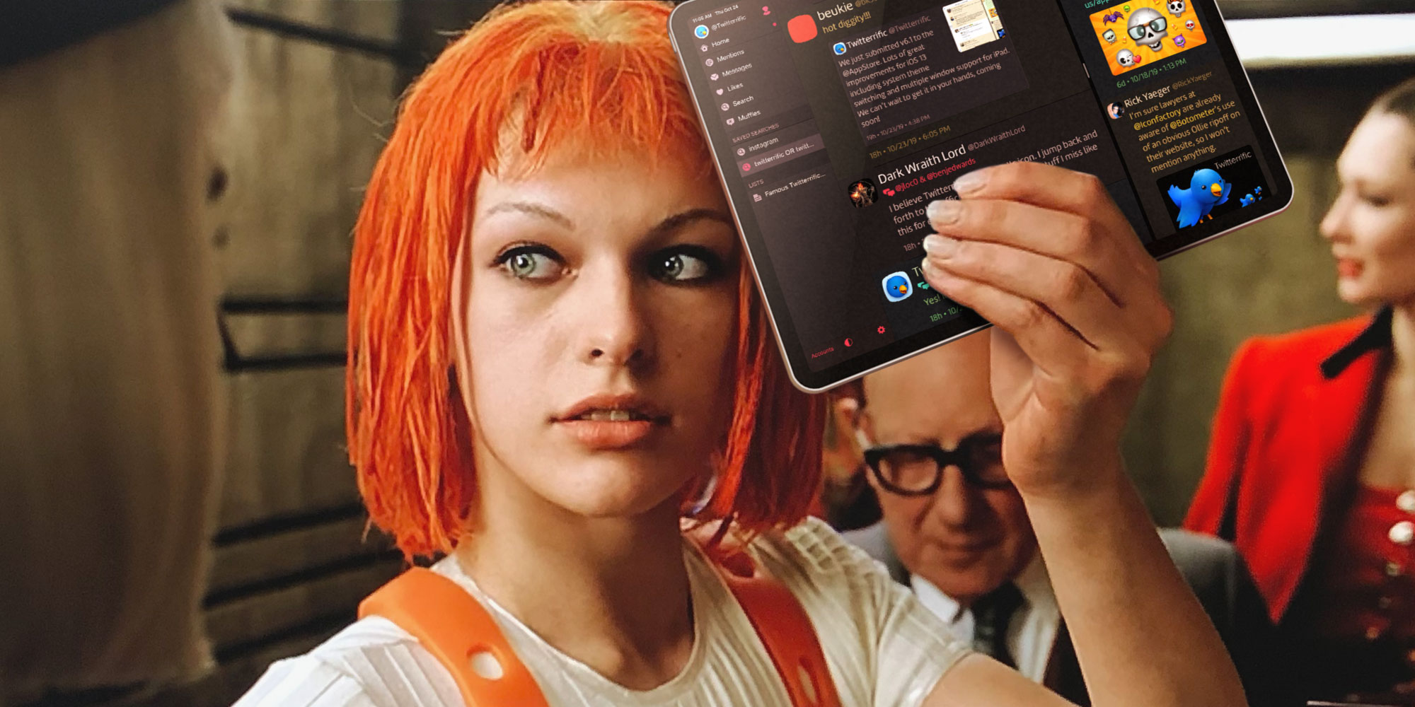 Leeloo holds from The Fifth Element holds up an iPad pro running Twitterrific 6.1 with multiple windows - MULTI-WINDOW!