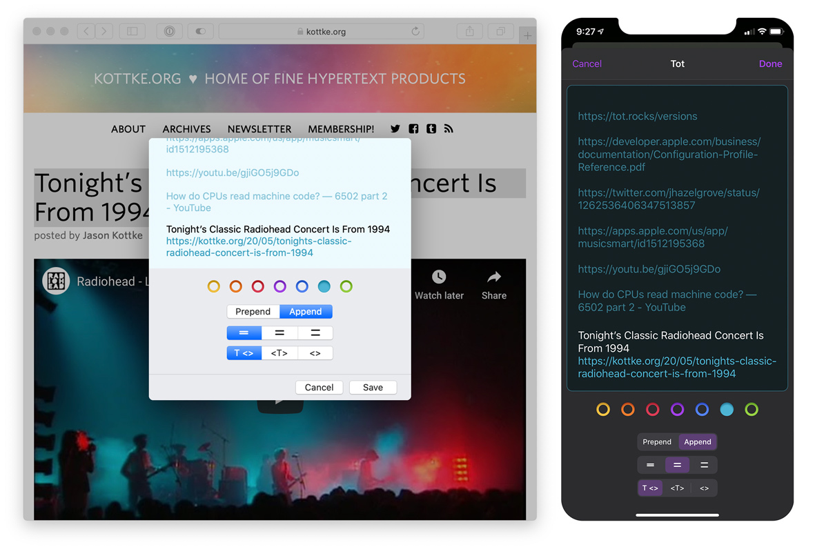 Screenshots of the new sharing extensions on macOS and iOS.