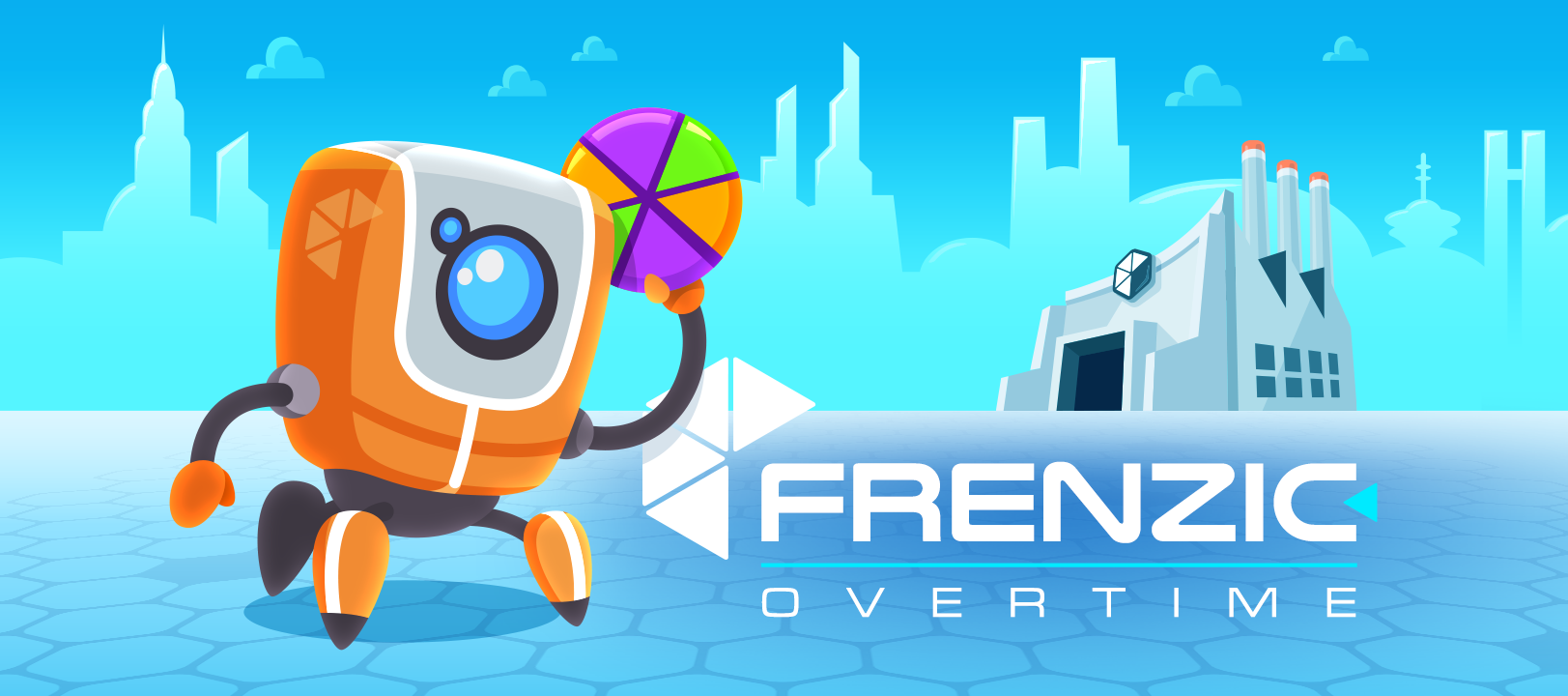 Frenzic: Overtime hero image of DoBot standing outside Frenzic Industries holding a powercore