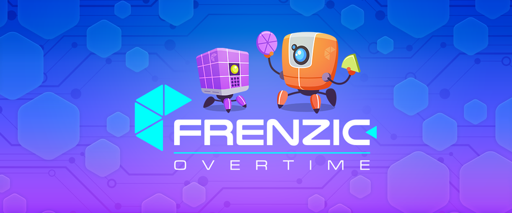 Frenzic: Overtime title graphic featuring InfoBot and DoBot