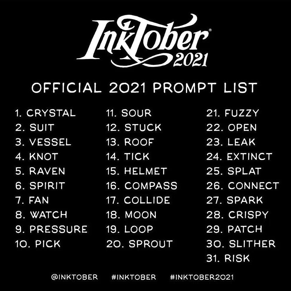 The official prompt list for Inktober 2021 including days like sour, moon, spark and raven.